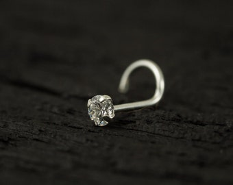 3mm round CZ diamond claw set STERLING SILVER nose screw