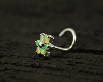Lime green Opal Gems flower nose stud/nose ring/nose screw