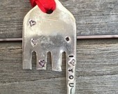ELEPHANT Ornament I (heart) YOU on trunk with hearts on body Red Ribbon made from FORK recycle