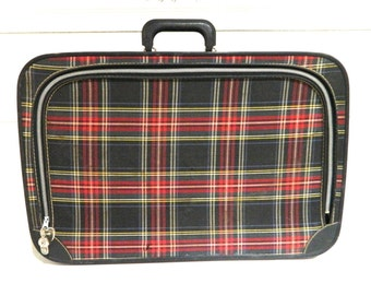 Vintage Plaid Suitcase Luggage Overnight Bag Fabric