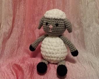CLEARANCE Lamb- Crochet Amigurumi Stuffed Animal Plush- White / Gray