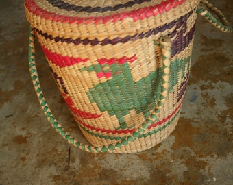 Vintage Large Colorful Wicker Basket with lid, Clothes Hamper, Storage, Laundry, Home Decor, Kid's Room