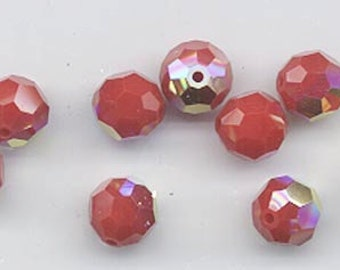 Twelve Swarovski crystals: art 5000 - 8 mm - dark red coral AB