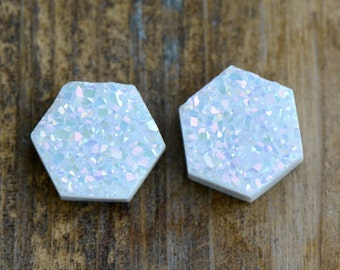 1 - OPAL Druzy Hexagon Cabochon 10mm x 3mm thick AAA Quality OPAL coated Druzy Cabochon White Geometric Druzy Jewelry Supplies