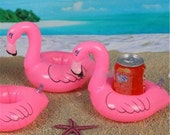 Flamingo Drink Holder Inflatable Set of 2 or 4 Floats // Can Drink Holder / Pool Party / Summer Party / Party Decor / Birthday Party Decor