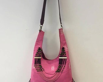 Pink Hobo Bag  with Tribal beaded necklace