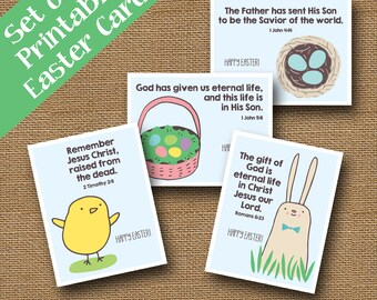 Printable Christian Easter Cards with Scriptures | DIY PRINTABLE | Religious, Bible Verse Easter Cards for Children | SET of 4 Cute Designs