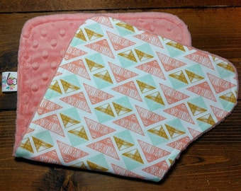 Reversible Burp Cloth Drool Rag Crystal Arrowheads with Coral Dimple Minky Newborn Infant Baby  Girl Drool Pad Accessories ITEM #428
