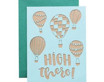 "Everyday Card - ""High There"" Laser Cut Hot Air Balloon Card"