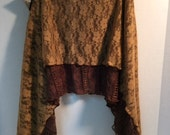 Two Layer Tan and Brown Lace Skirt - Large