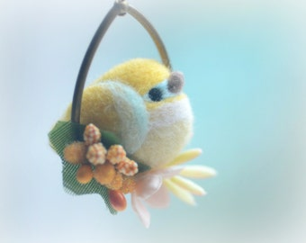 Needle felt bird pendant necklace, soft sculpture wool bird jewelry, yellow bird on flower hoop pendant, whimsical jewelry, gift under 25