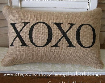 XOXO Pillow-Burlap Pillow-Valentine Pillow-Wedding Gift-XO pillow-Valentine's Day Gift- Burlap Pillows-Pillows-Valentine