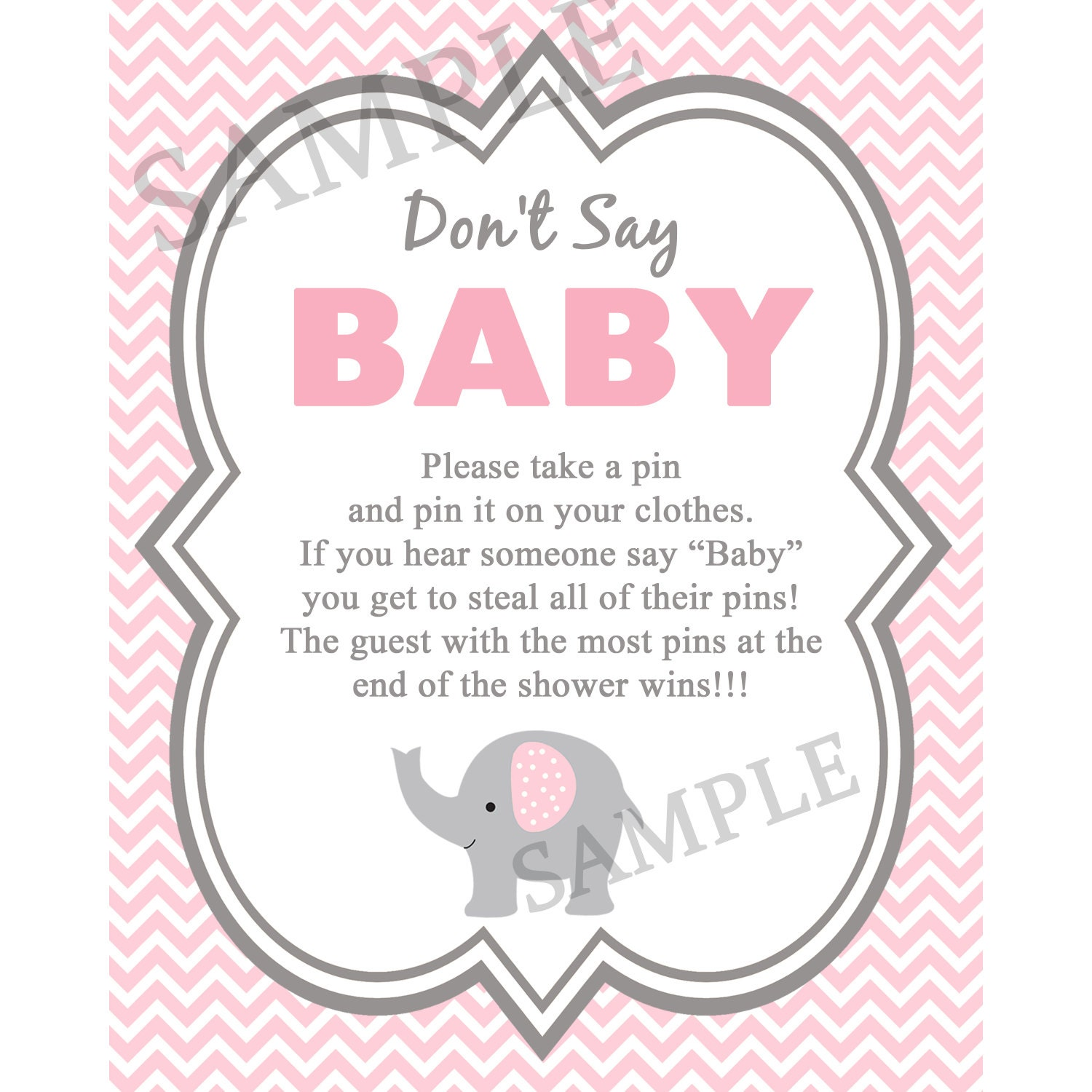 elephant don 39 t say baby baby shower game diaper pin