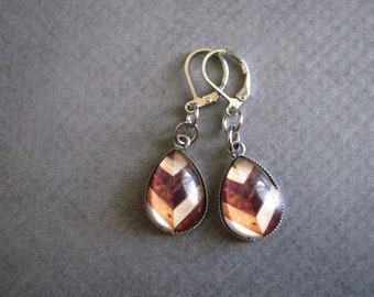 Wood Chevron Earrings : Glass Drop Jewelry