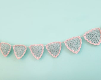 Pretty Bunting - green, granny square triangles, garland, banner decorations for walls, doorways or in the garden