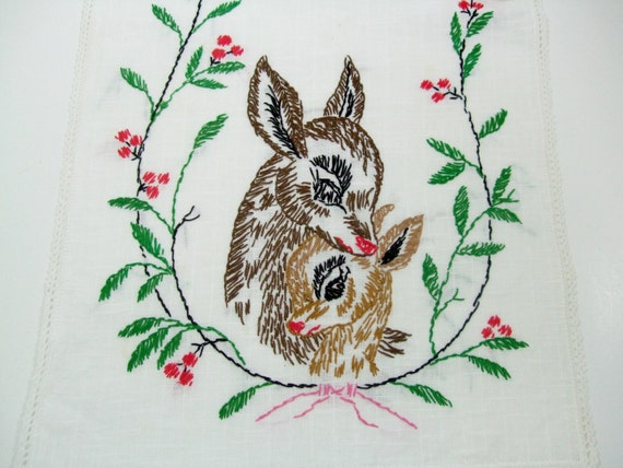 Embroidered Table Runner, Dresser Scarf,  Deer Doe Fawn, Reindeer, Red Green Brown, Holly Berries, Holiday Home Decor, Vintage Linens