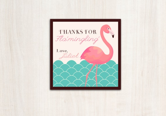 Flamingo Favor Tag- Pool party Invitation- Flamingo Party - beach party - party supplies