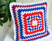 Red white and blue crochet pillow, small granny style throw cushion, patriotic home decor, fourth of july colors