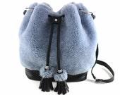 ONLY 1! On SALE! Shearling & Leather Bucket Bag | Shearling | Hair On | Shoulder Bag | Crossbody | Tassel Bag | Blue Bag | Handmade