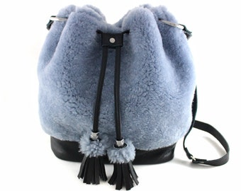 ONLY 1! Shearling & Leather Bucket Bag | Shearling | Hair On | Shoulder Bag | Crossbody | Tassel Bag | Blue Bag | Handmade
