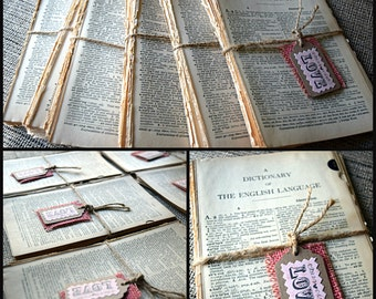 Vintage Dictionary  Pages - Book Salvage 60 qty - Illustrated Weathered Book Pages -Collage, Decoupage, Mixed Media Supplies- 1961 Webster's