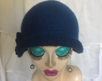 Midnight Navy Blue Vintage Inspired Crocheted Felted Cloche Flapper Hat 'Carrie Bell'
