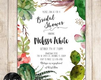 Succulent, Cactus, Wreath, Bridal Shower, Custom Invitation- DIY