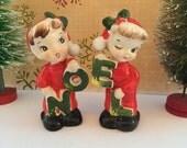 Vintage Lefton NOEL Salt and Pepper Shakers Kids in Christmas Pajamas Made in Japan Christmas Kitsch