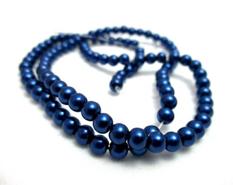 """Navy Blue 4mm Round Glass Pearl Beads - 15"""" Strand - Beads for Jewelry Making - Jewelry Supplies - Blue Pearls"""
