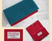 Harris Tweed clutch bag handmade in teal green and turquoise wool herringbone with red faux suede interior optional personalisation