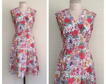 20% SALE Tropical Garden dress // vintage 1970s dress // 70s floral day dress // l
