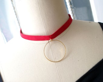 Statement Necklace Choker Red Faux Suede Gold Hoop Circle  Handmade Punk Rock , goth gothic Lolita cute steampunk