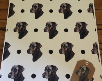 Black labrador, black lab, wrapping paper, gift wrap, for labrador lovers, for dog lovers