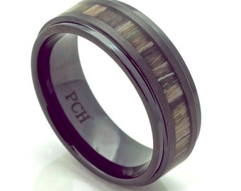 Black Ceramic Wedding Band with Real Zebra Wood Inlay Men's Ring 8MM Comfort Fit