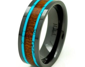 Men's Women's Koa Wood Wedding Band with Turquoise 8mm Flat Top Black Ceramic Size 7 to 15