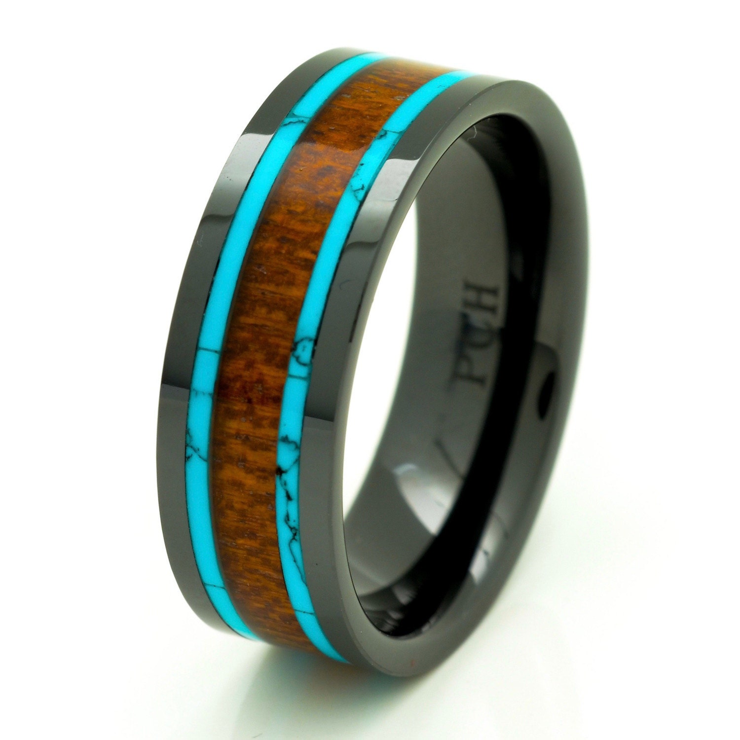 ceramic wood ring mens ceramic wedding bands Men s Women s Koa Wood Wedding Band with Turquoise 8mm Flat Top Black Ceramic Size 7 to 15