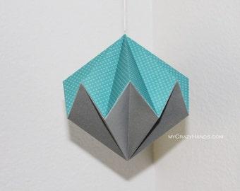 origami diamond || 5 3/8'' hanging home decor || origami kusudama || origami nursery decor | origami ball -blue metallic gray mixed