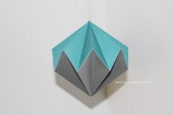 origami diamond . 5 3/8'' hanging home decor . origami kusudama . origami ball . paper diamond -blue silver mixed