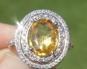 GIA Certified Natural 2.64 Carat Yellow Sapphire & Diamond Engagement Ring 14kt White Gold