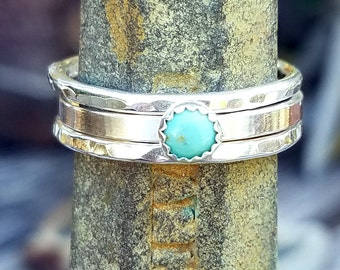 Sterling Silver Stacking Ring Set with Stone