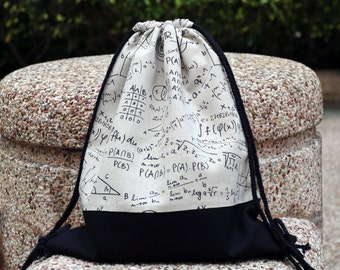 Drawstring backpack/ Cotton backpack/ Drawstring bag/ handmade backpack/ Gym bag/ Swim bag ~ Mathematics formula (B54)