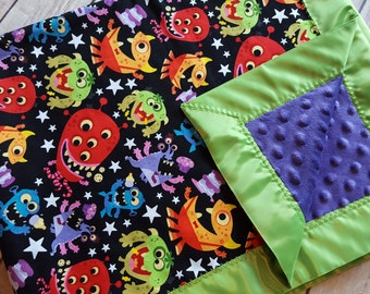 Monster minky blanket, monster baby blanket, gender neutral baby blanket, monster nursery