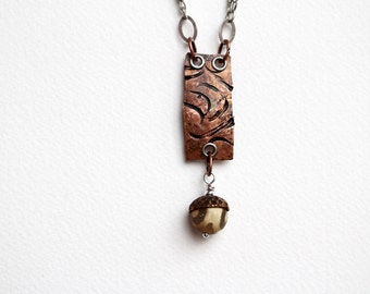 Batik Bead Necklace, Stamped Jewelry, Pendant Necklace, Beaded Jewelry, Short, Bohemian Pendant, Stamped Metal