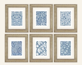 Set of 6 William Morris Navy Blue Botanical Wallpaper Archival Quality Prints on Watercolor Paper