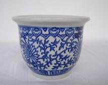 Blue, white, vintage Chinese, glazed ceramic pot planter, oriental small round pot.
