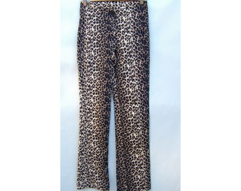 Vintage Leopard Print Pant Ladies Fashion Rock n Roll Cool Casual Funky Size Small Rockabilly Retro 1950s 1980s