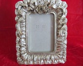 RESERVED for Margaret Picture Frame Fancy Ornate Gold - Bridal Wedding Picture Frame Ribbons and Roses Texture