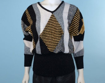 Vintage 80s Black White & Metallic Gold + Silver Pullover Sweater/Sparkle Geometric Pattern Disco Holiday Party Batwing Sweater S