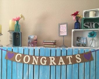 Congrats Banner, Wedding Shower Banner, Engagement Party Banner