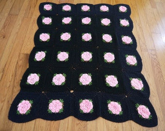 Vintage Afghan Crochet Quilt Throw